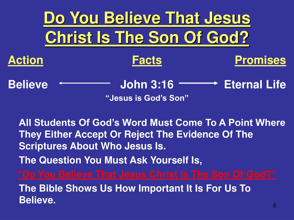Do You Believe That Jesus Christ Is The Son Of God?