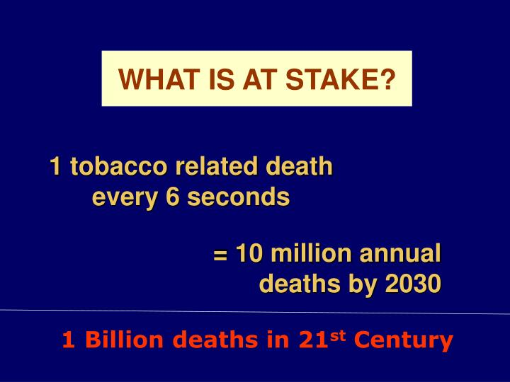 1 tobacco related death every 6 seconds