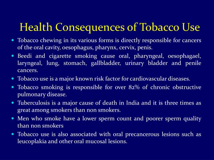 Health Consequences of Tobacco Use