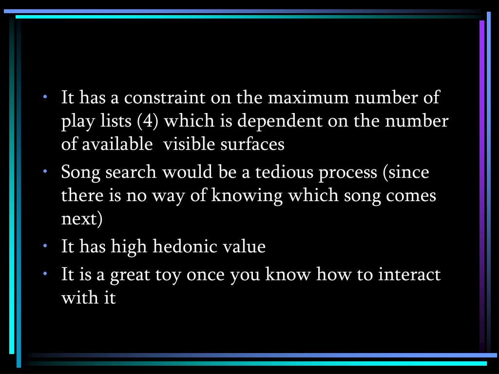 It has a constraint on the maximum number of play lists (4) which is dependent on the number of available  visible surfaces