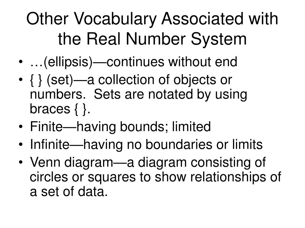 Other Vocabulary Associated with the Real Number System