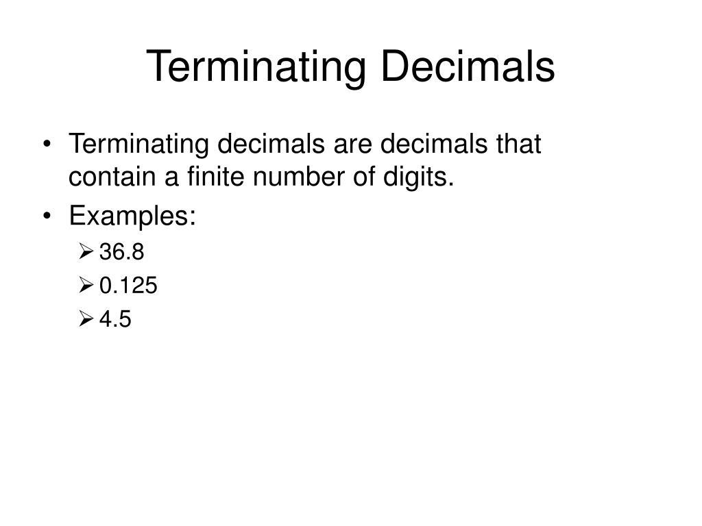 Terminating Decimals