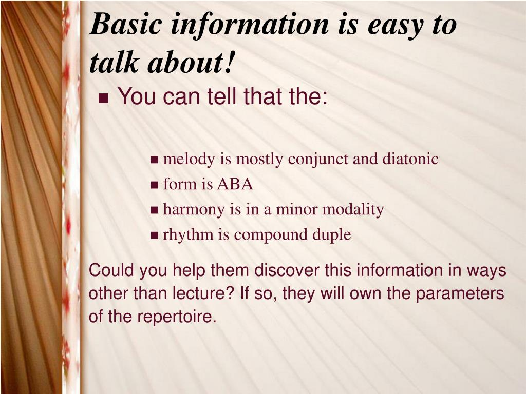 Basic information is easy to talk about!