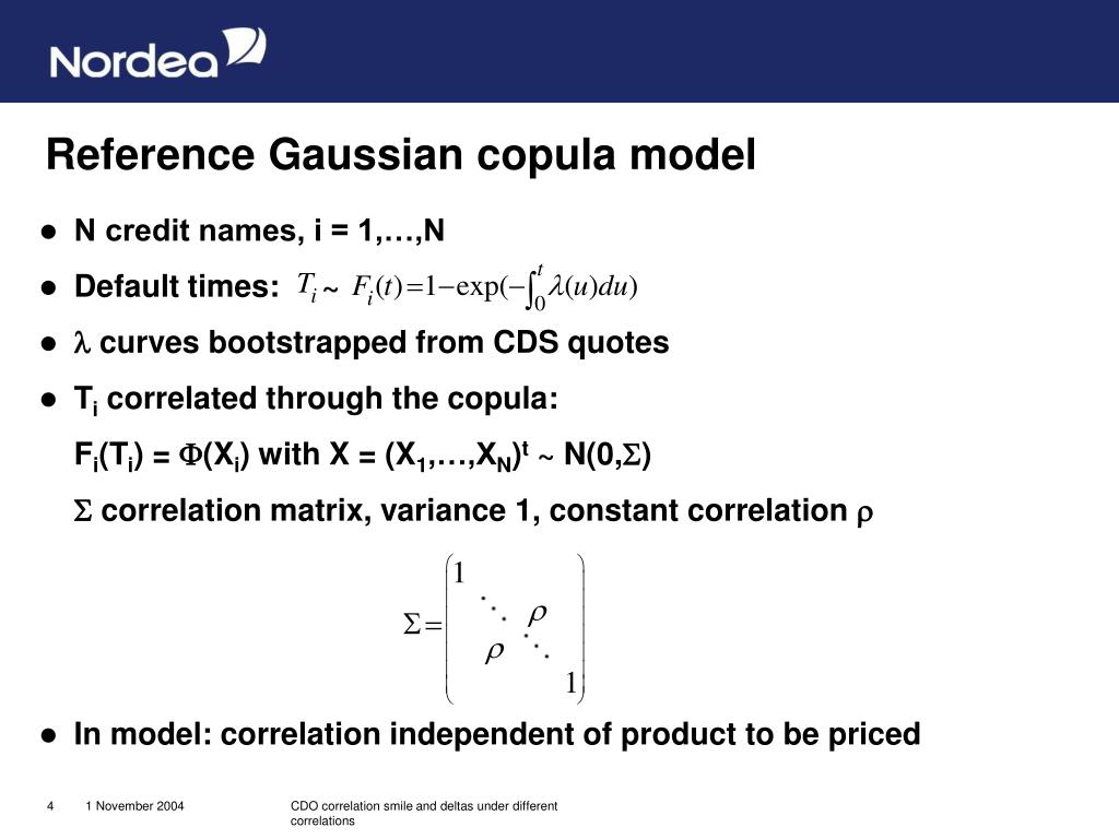 Reference Gaussian copula model