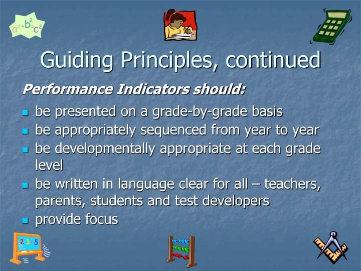 Guiding Principles, continued
