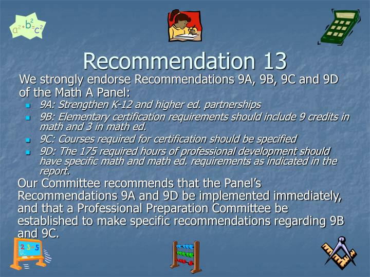 Recommendation 13