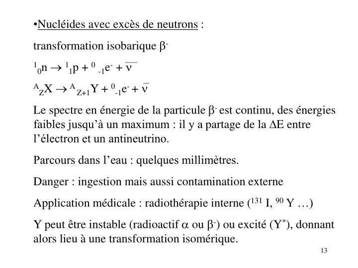 Nucléides avec excès de neutrons