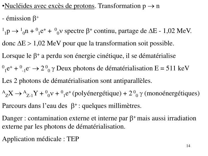 Nucléides avec excès de protons