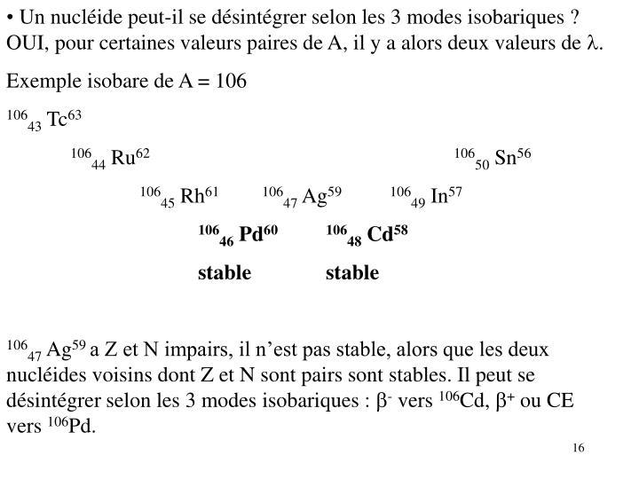 Un nucléide peut-il se désintégrer selon les 3 modes isobariques ? OUI, pour certaines valeurs paires de A, il y a alors deux valeurs de