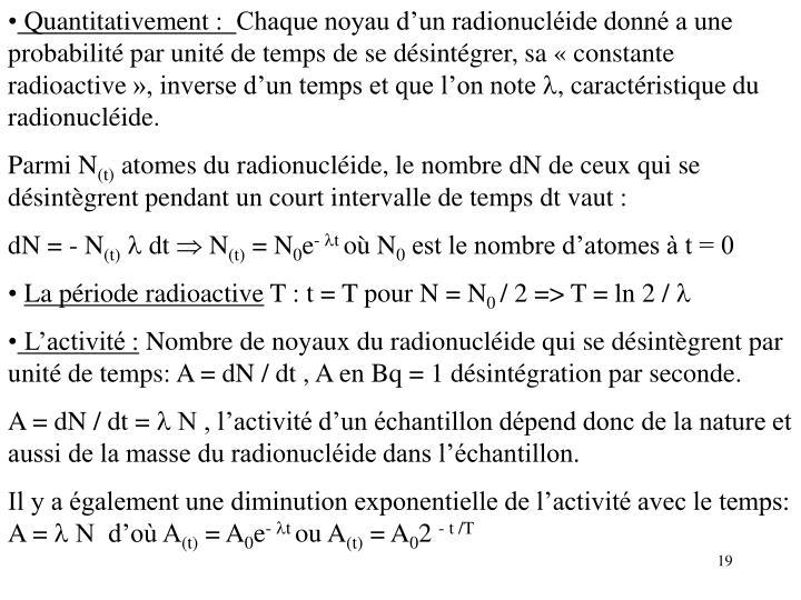 Quantitativement :