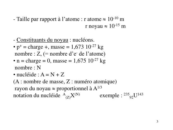 - Taille par rapport à l'atome : r atome
