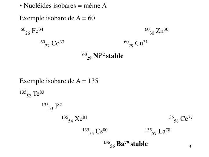 Nucléides isobares =