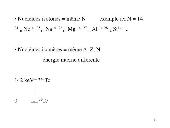 Nucléides isotones =