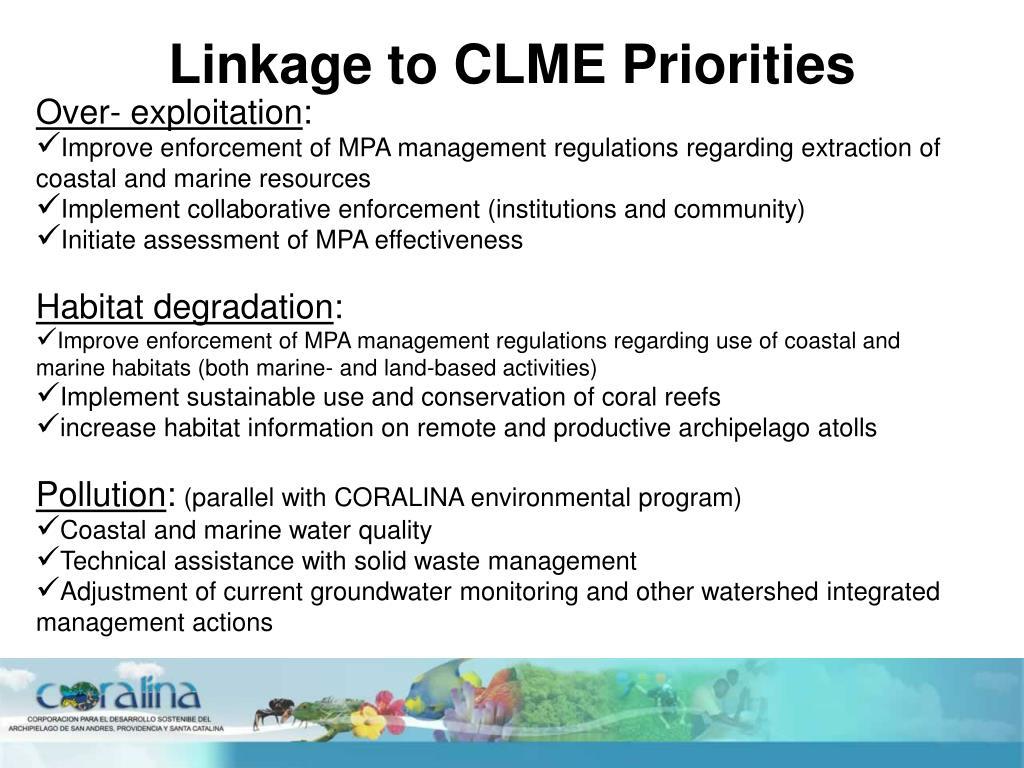 Linkage to CLME Priorities
