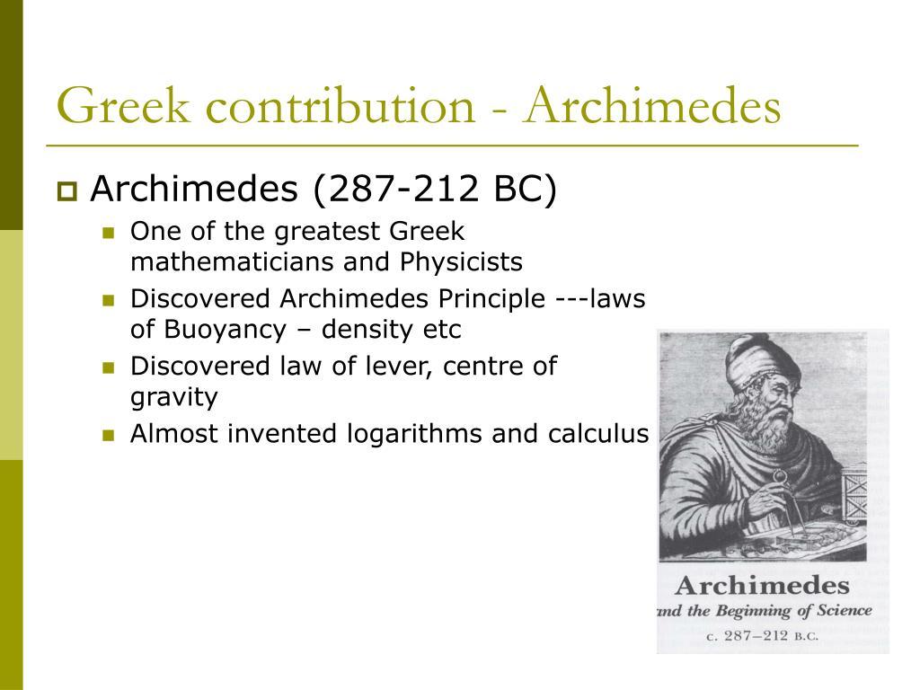 Greek contribution - Archimedes