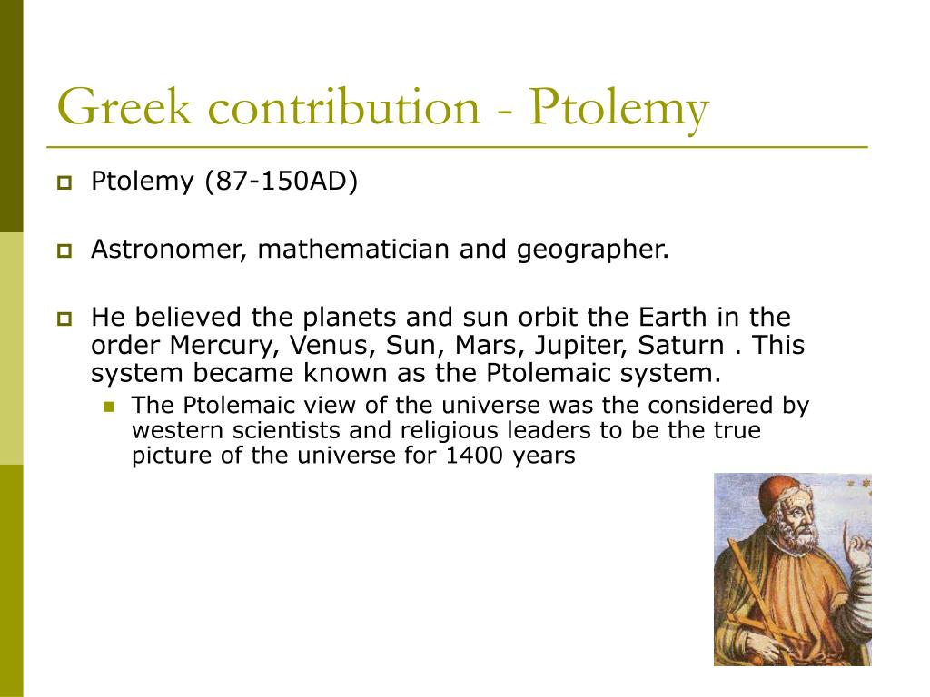 Greek contribution - Ptolemy