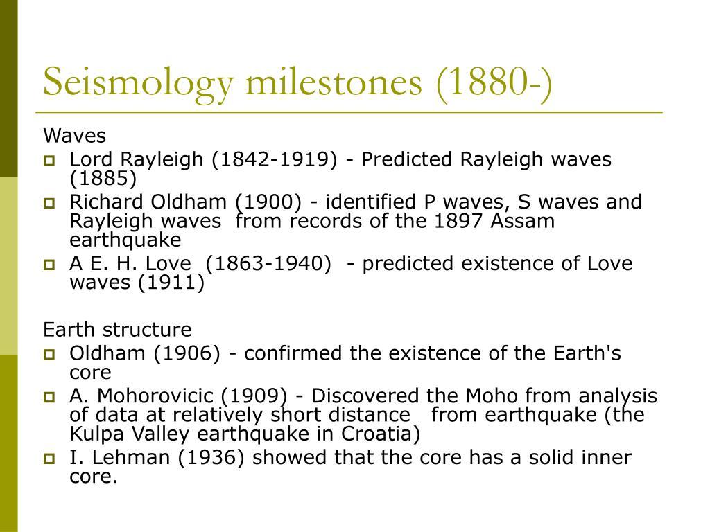 Seismology milestones (1880-)