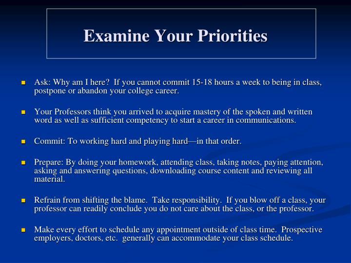 Examine Your Priorities
