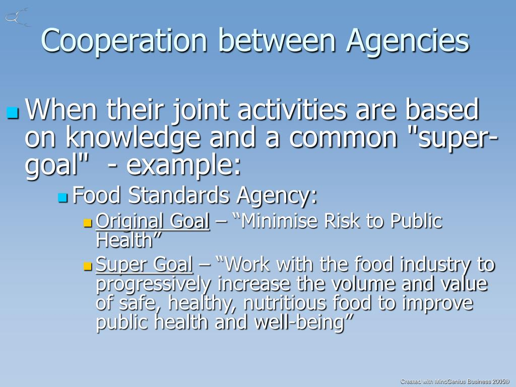 Cooperation between Agencies