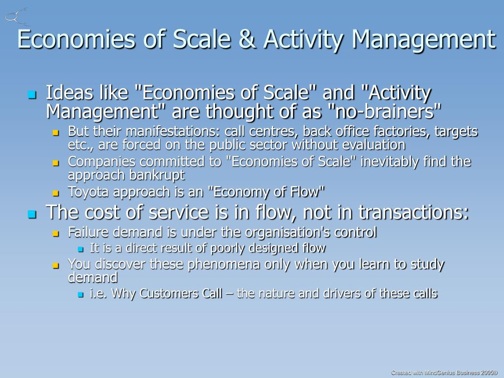 Economies of Scale & Activity Management