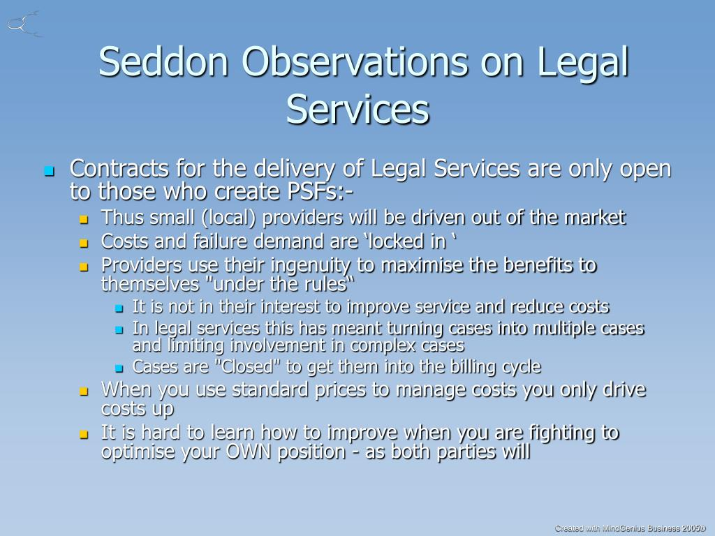 Seddon Observations on Legal Services