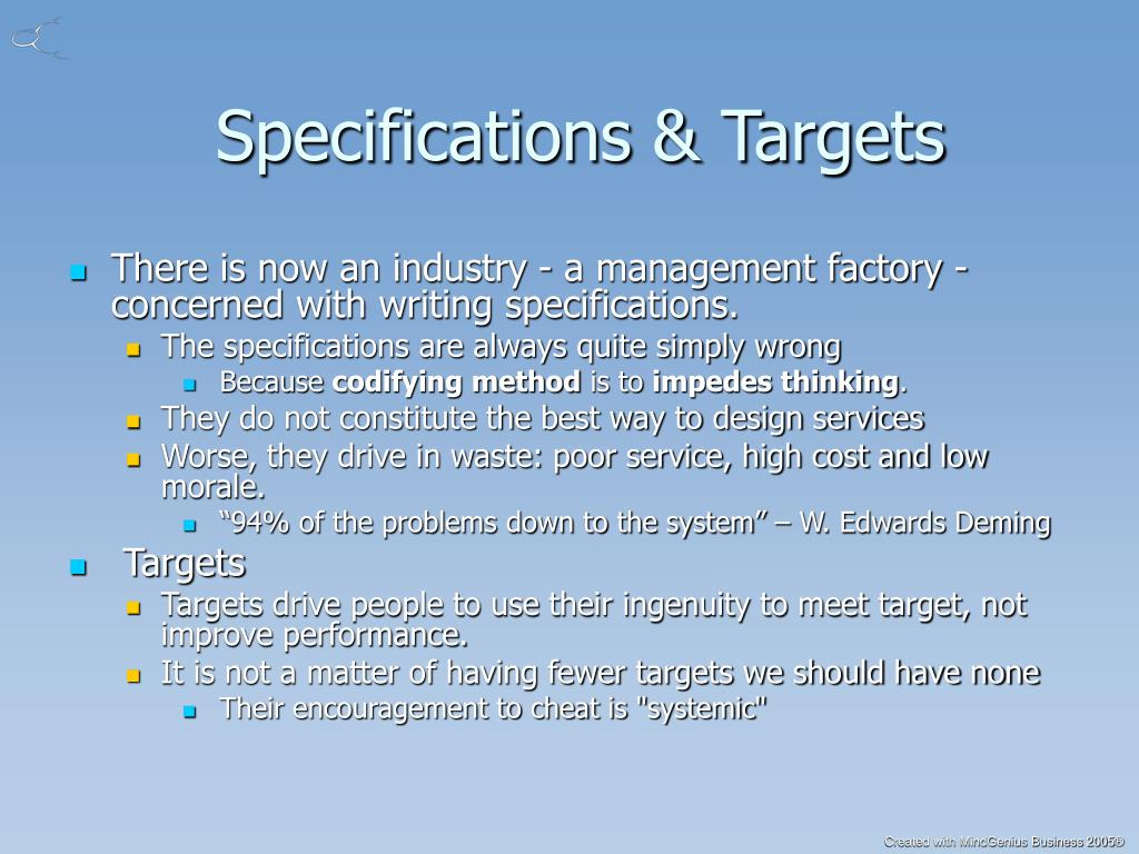 Specifications & Targets