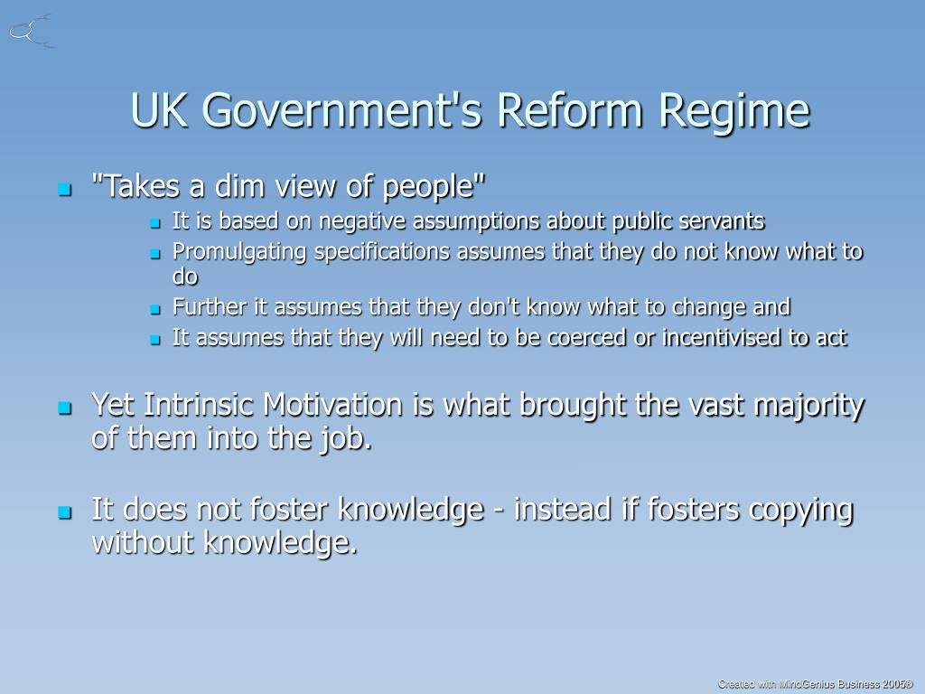 UK Government's Reform Regime