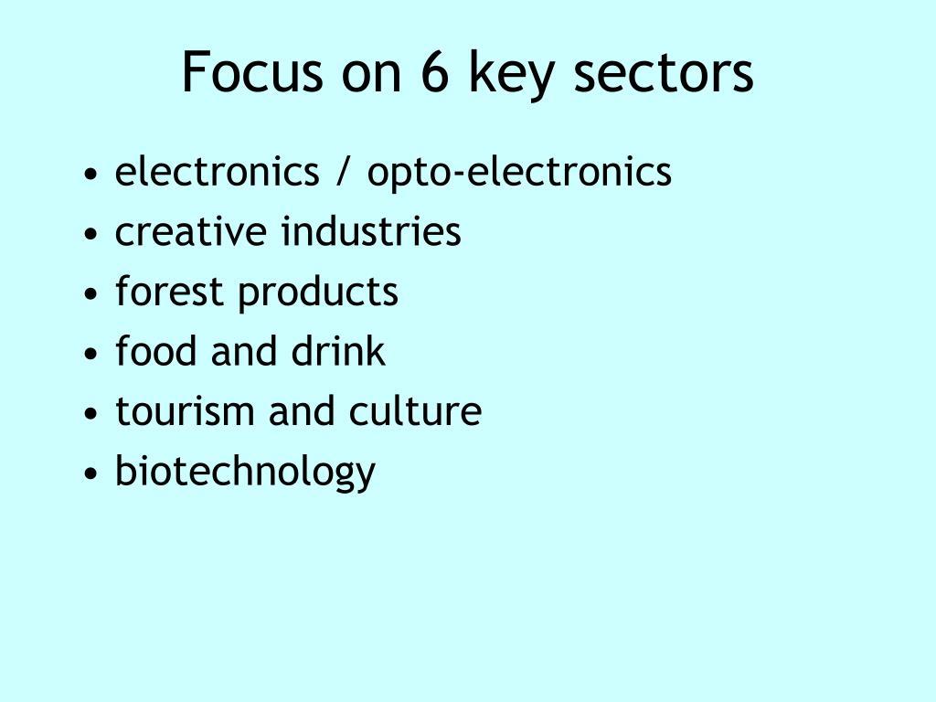 Focus on 6 key sectors