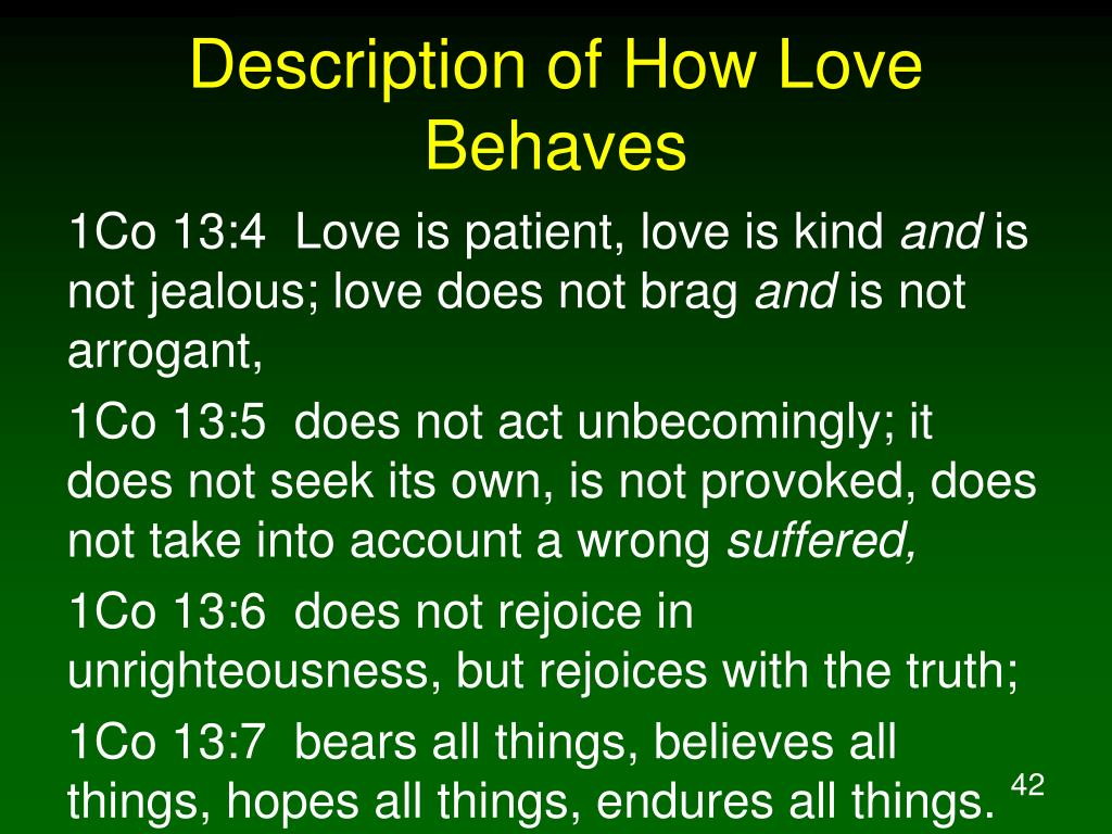 Description of How Love Behaves