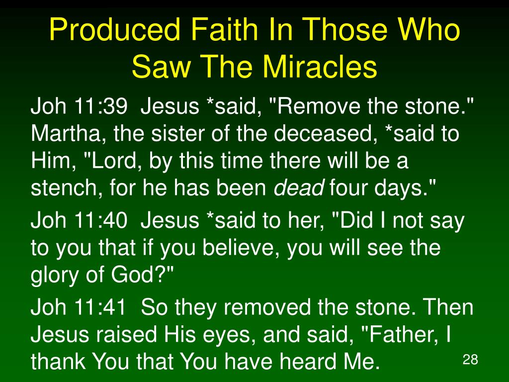 Produced Faith In Those Who Saw The Miracles