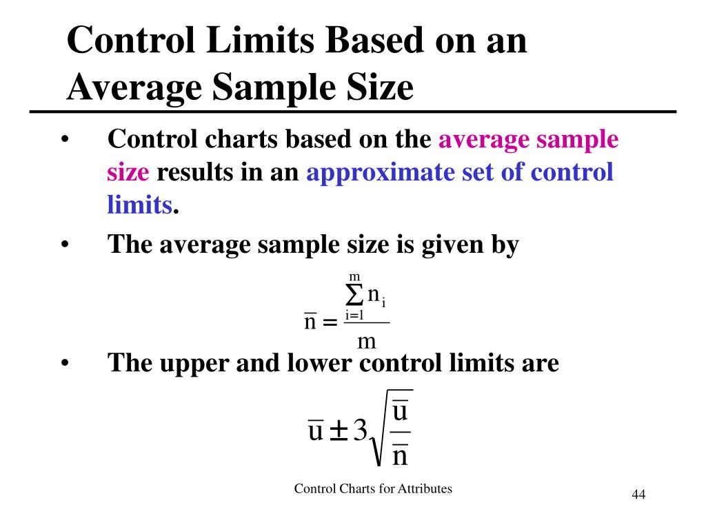 Control Limits Based on an Average Sample Size