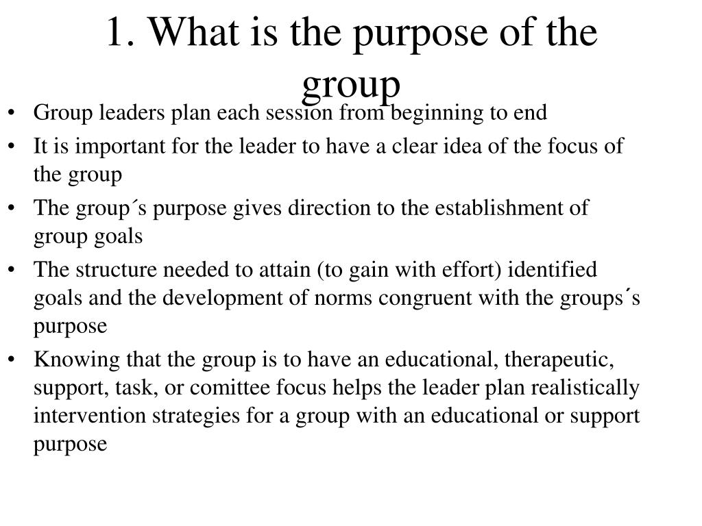1. What is the purpose of the group