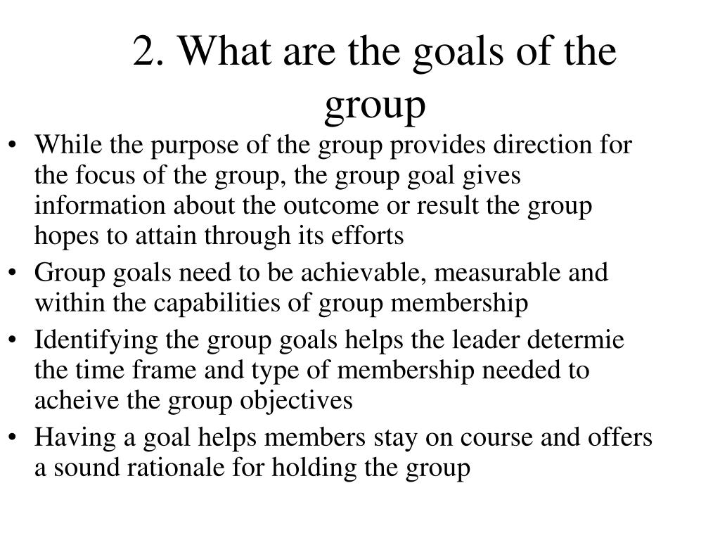 2. What are the goals of the group