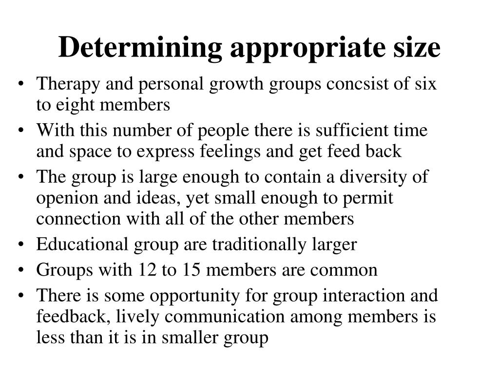 Determining appropriate size
