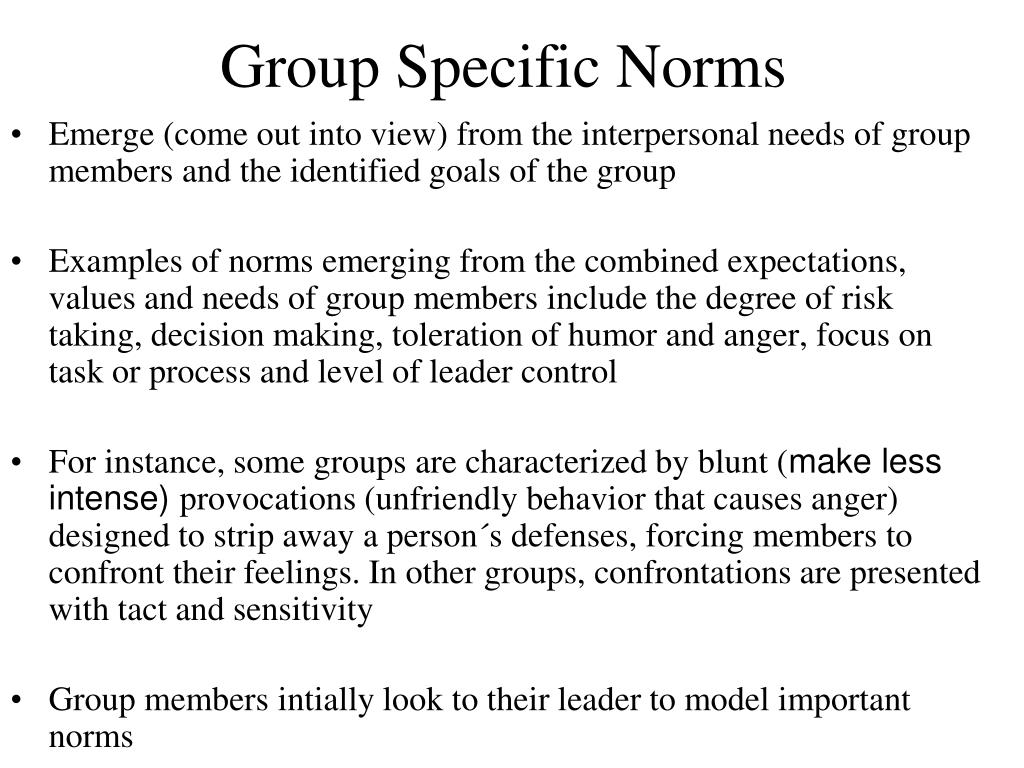 Group Specific Norms