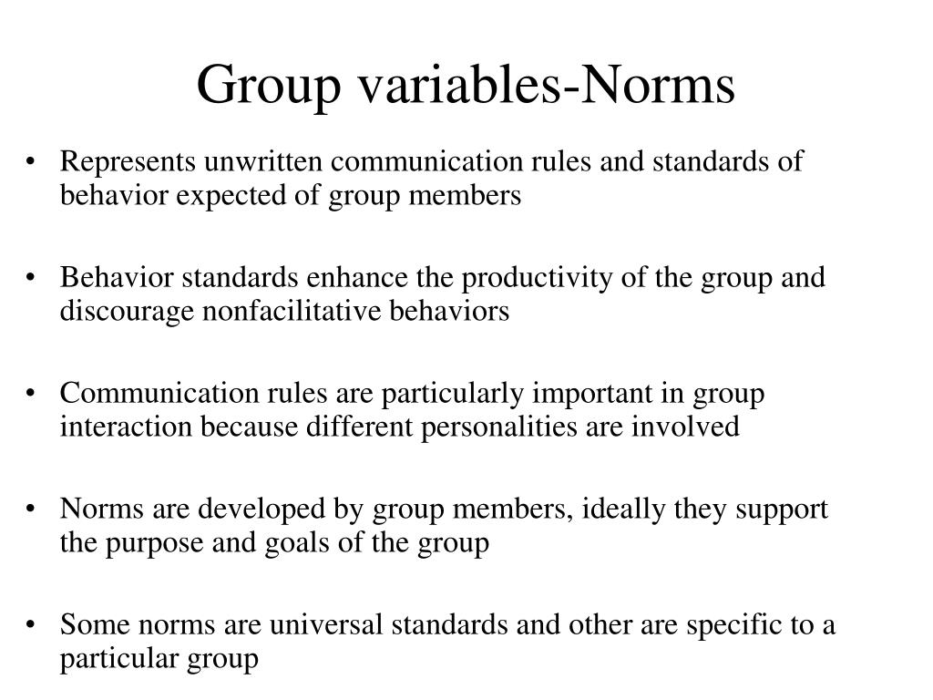 Group variables-Norms