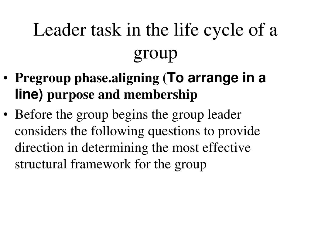 Leader task in the life cycle of a group