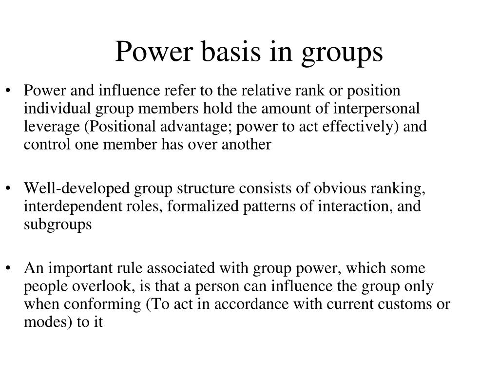 Power basis in groups