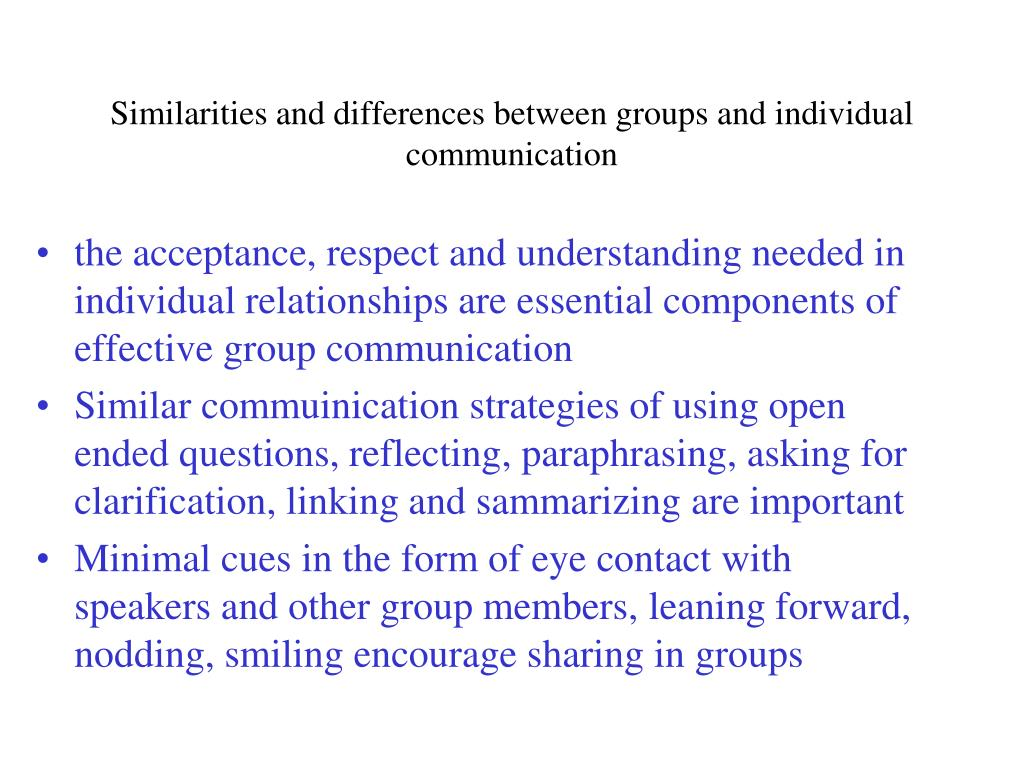Similarities and differences between groups and individual communication