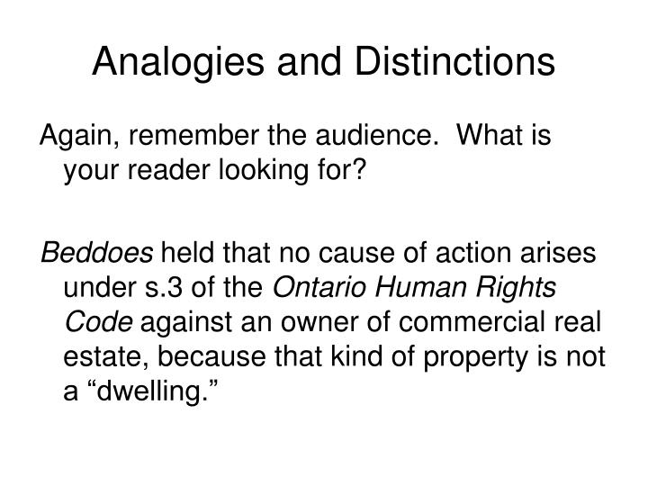 Analogies and Distinctions