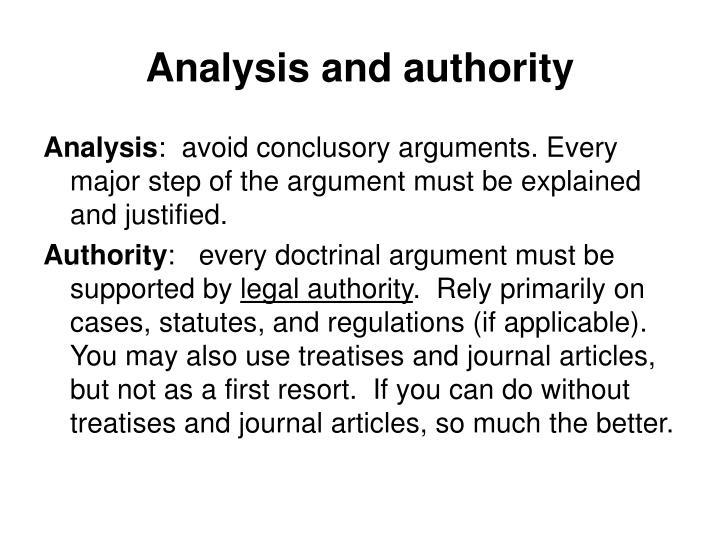 Analysis and authority