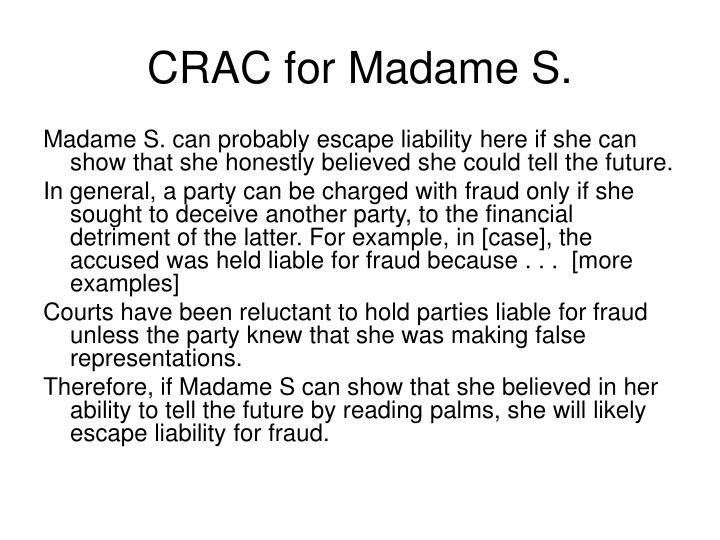CRAC for Madame S.