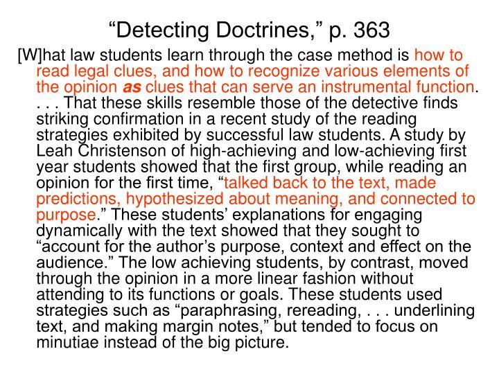 """""""Detecting Doctrines,"""""""
