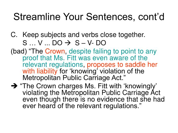 Streamline Your Sentences, cont'd