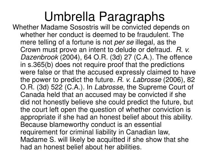 Umbrella Paragraphs