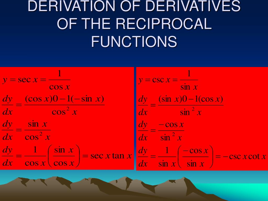 DERIVATION OF DERIVATIVES OF THE RECIPROCAL FUNCTIONS