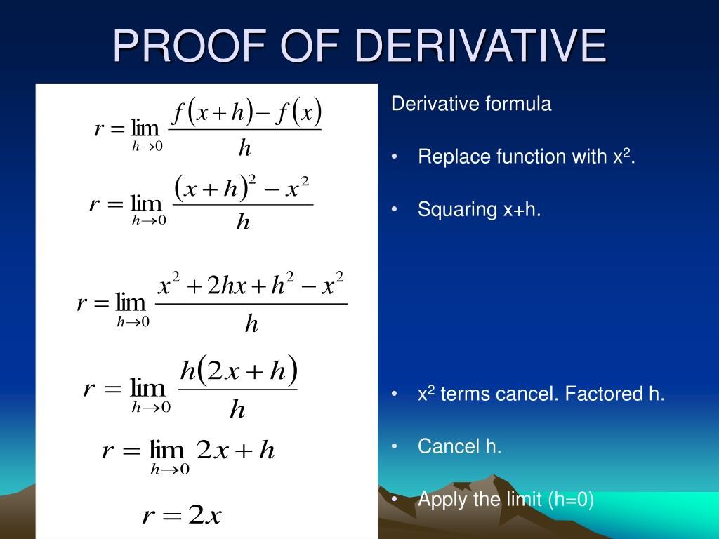 PROOF OF DERIVATIVE