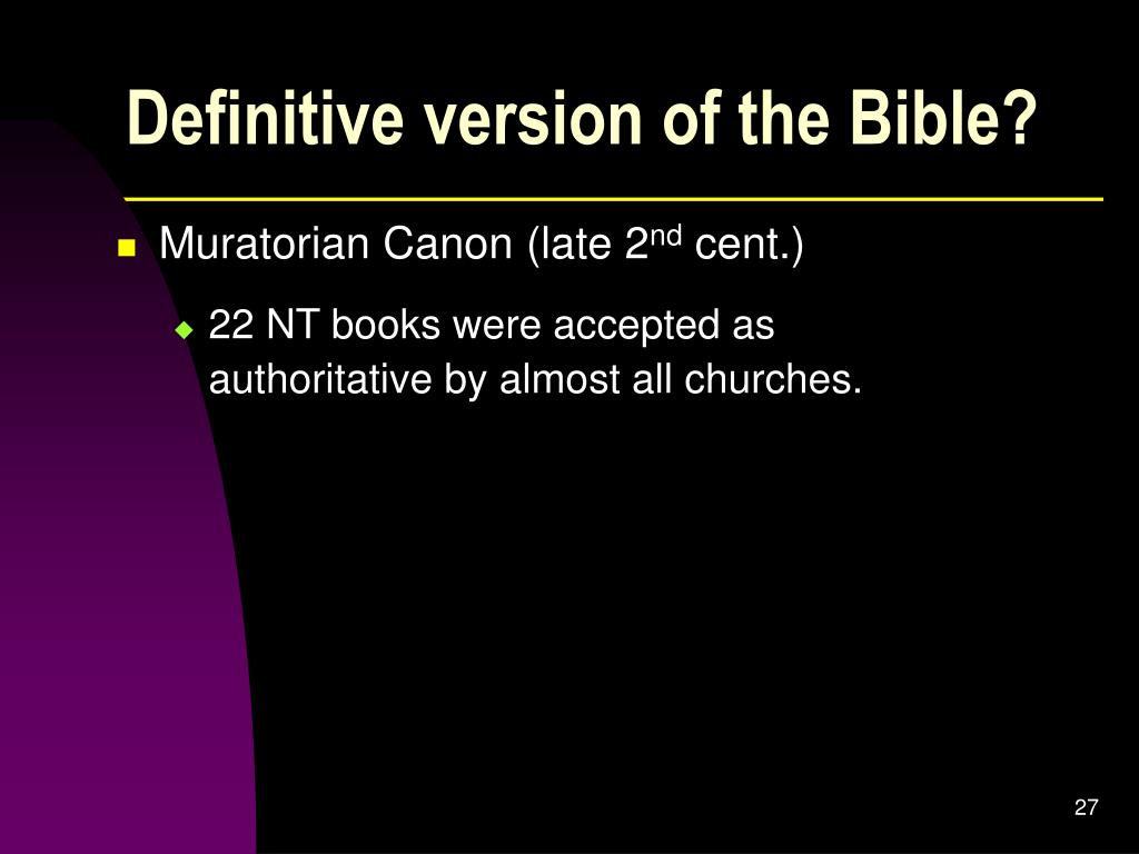 Definitive version of the Bible?