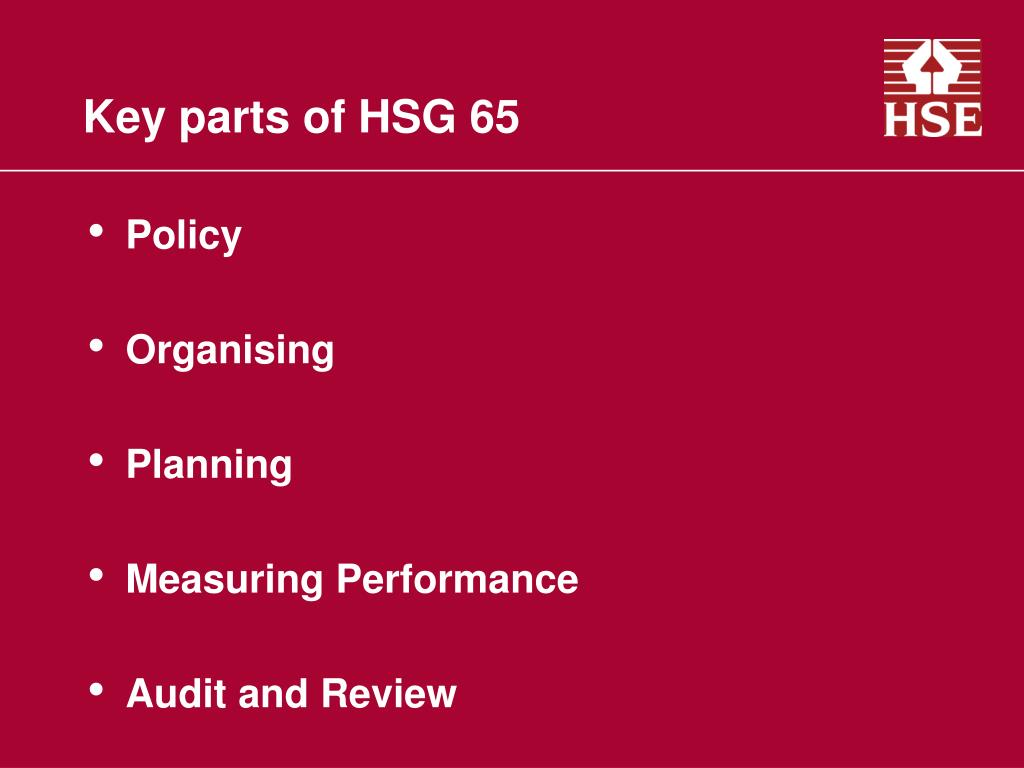 Key parts of HSG 65