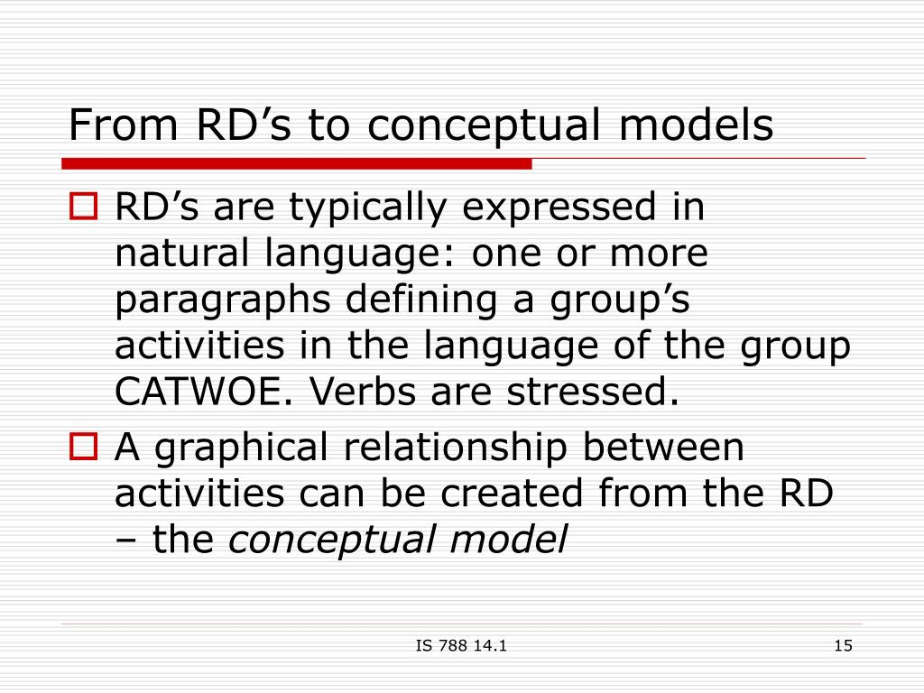 From RD's to conceptual models